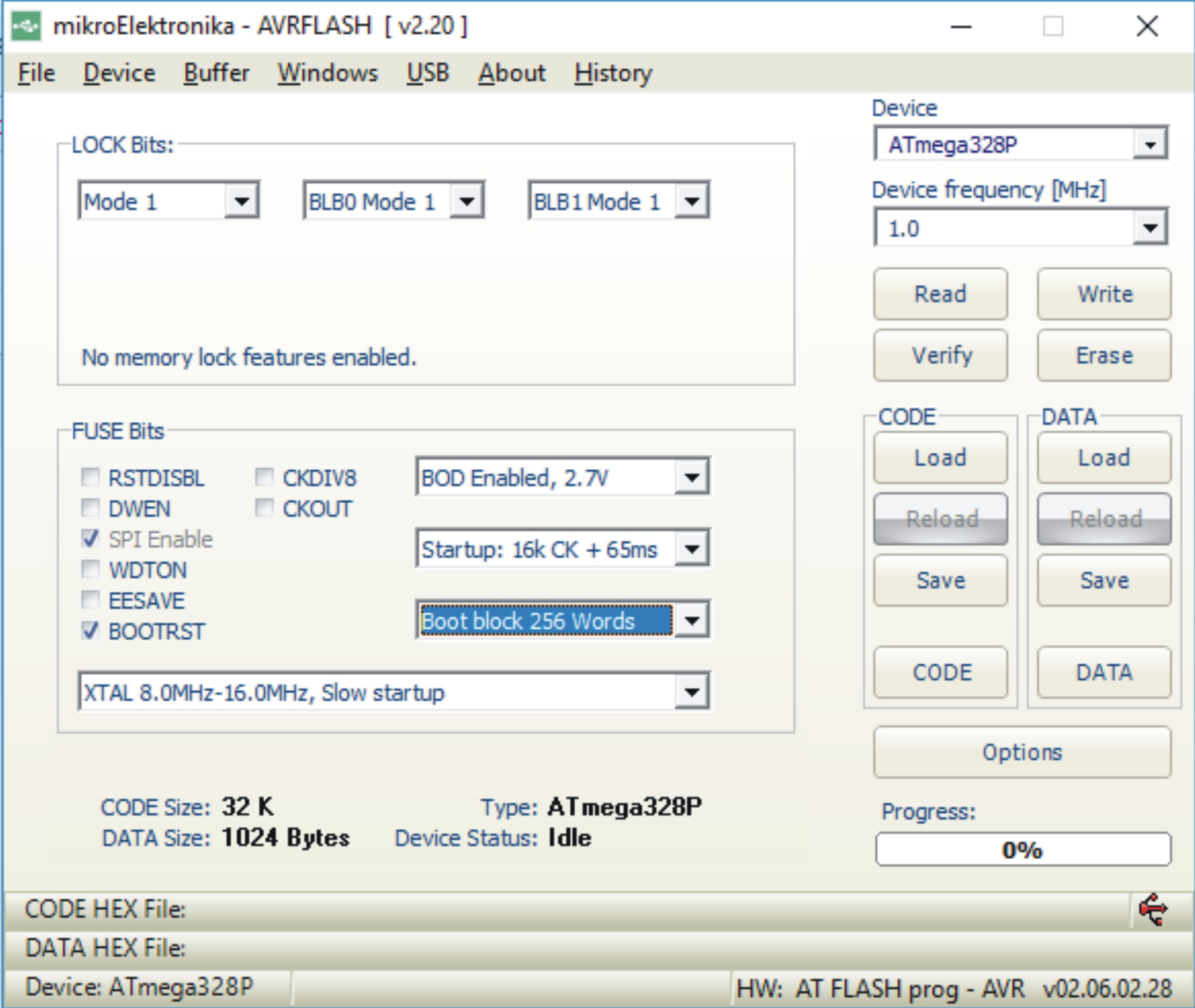 How to configure AVRFLASH for programming Atmega328P